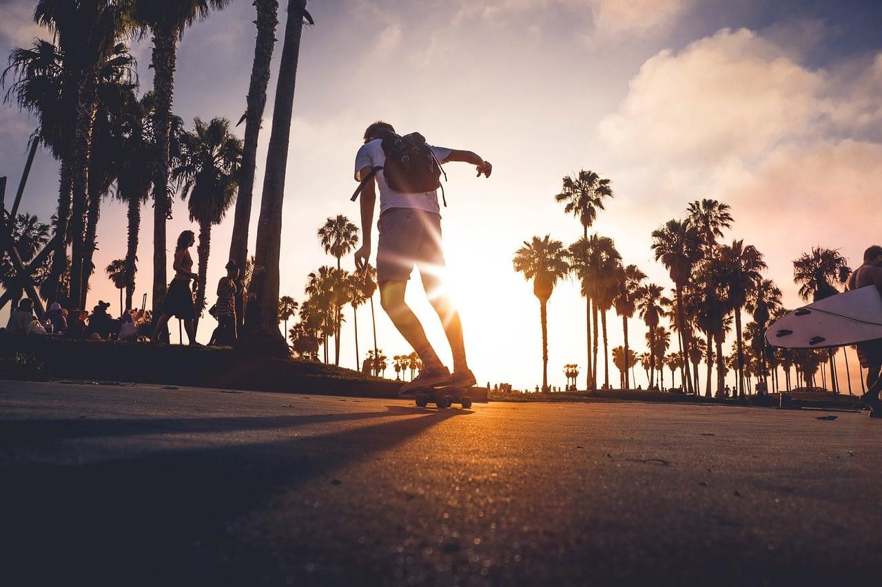 riding an electric skateboard